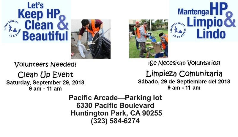Clean Up Event September 29, 2018