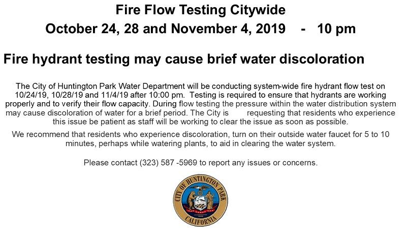 Fire Flow Testing Citywide NOV 4
